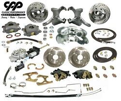 63-66 Chevy C10 Truck 12 Front 11 Rear Brake Kit Drop Spindles 5x5 Hydra Stop