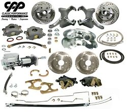 67-70 Chevy C10 Truck 12 Front 11 Rear Brake Kit Drop Spindle Show Stopper 6lg
