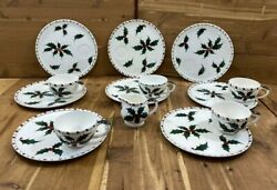 Lefton Christmas Holly Berry Coffee Cup And Dish Hand Painted 214 N Japan