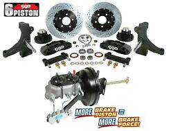 63 66 Chevy C10 6 Piston Front Drop Spindle Big Disc Brake Booster Kit 6 Lug