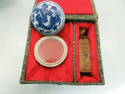 Vintage Chinese Little Dragon Carved Soapstone Stamp Seal Set Blank