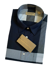 Burberry Men#x27;s Check Outlet Long Sleeve Casual Dress Shirt Navy $149.95