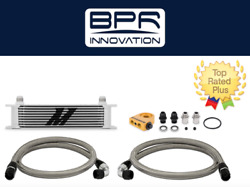 Mishimoto Universal Thermostatic 10 Row Oil Cooler Kit, Silver   Mmoc-ut