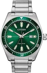Citizen Menand039s Vintage Brycen Sport Eco-drive Green Dial 43mm Watch Aw1598-70x