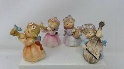 4 Vintage Lefton Angel Musicians Figurines - Flute Horn Harp And Cello Instruments