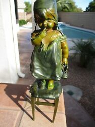 Antique 19th C. Bronze And Spelter Girl On Stool By Juan Clara