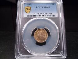 1915 Ms65 Barber Dime Pcgs Certified Gem - Beautifully Toned In Green/gold