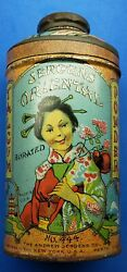 Vintage Jergens Oriental Burated Talcum Powder 444 Full 3-1/2 Oz. Woman On Can