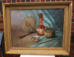 Antique Original Canvas Oil Painting Asian Chinoiserie Style Still Life Pottery