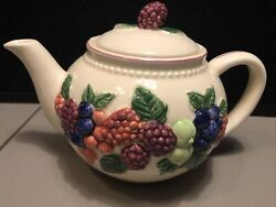 Otagiri Mary Ann Baker Embossed Berries Teapot Red Trim - 1980and039s 9x6andrdquo