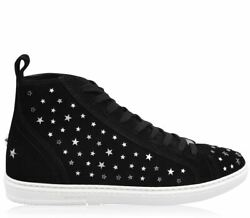 Jimmy Choo Colt Soft Suede Star Studs Hi-top Sneakers Men Shoes Made In Italy