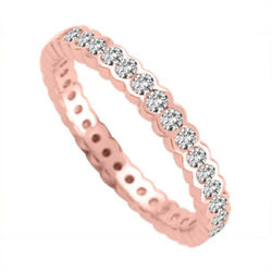 Round 2.00 Ct Real Diamond Engagement Ring Band Solid 14k Rose Gold Size M O P Q