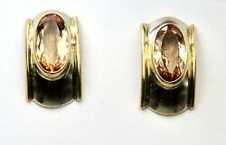 Imperial Topaz 5.00ct. Stud Earrings White And Yellow Gold 18k.size 20mm X 10mm.