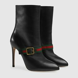 Womenand039s Sylvie Green/red/green Web Black Leather Ankle Boots40/us 9.5-10