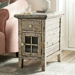 End Table With Storage Drawer Cabinet Cupboard Vintage Rustic Side Sofa Outlets