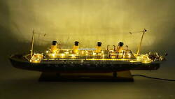 Rms Britannic With Lights White Star Line Ocean Liner Wooden Ship Model 40