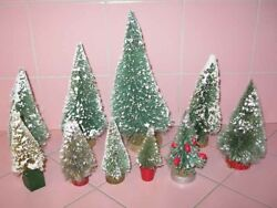 Lot 10 Assorted Size Vintage Bottle Brush Christmas Trees Green Snow Wood Bases