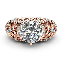 1.00 Ct Real Diamond Women Engagement Ring Solid 14k Rose Gold Rings Size 5 6 7