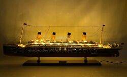 Rms Olympic With Lights White Star Line Ocean Liner Wooden Ship Model 40