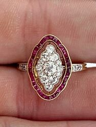 Antiqueold Mine Diamonds 0.86 Ct And Fine Ruby 0.64 Ct Edwardian Cluster Ring