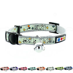 Adjustable Pet Soft Glow in the Dark Cat Collar w Bell Safety Buckle by Pawtitas