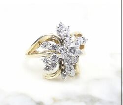 Vintage 1970's 1.01tcw Diamond Cluster Ring In 14k Yellow Gold