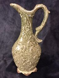 Antique French Textured Green Crackle Glaze Mossware Pottery Pitcher Ewer 15andrdquox7andrdquo