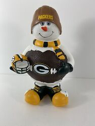 Nfl Green Bay Packers Vintage 8 Inch Forever Collectibles Football Snowman Rare