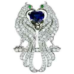 Vintage Blue Sapphire And Green Emerald With White Cz 5.90 Ct Peacock Brooch Pin
