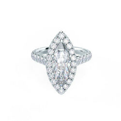 Excellent Marquis 1.51 Ct Real Diamond Wedding Ring Solid 18k White Gold Size 7