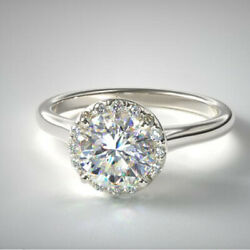 0.90 Ct Real Diamond Engagement Rings For Proposal Solid 18k White Gold Size R S