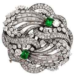 Vintage Green Emerald And White Cz 29.60 Ct Double Clip Brooch Pin In 935 Silver
