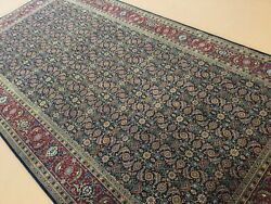 6andrsquo X 12andrsquo Navy Blue Red Fine Geometric Hand Knotted Oriental Rug Wide Runner Wool