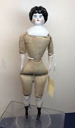 """12"""" Antique Porcelain German China Head Cloth Body New Replaced Legs And Arms A"""