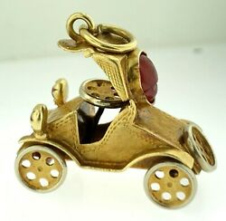Vintage 18kt Yellow Gold Antique Car Charm.moveable Wheels, 8.0 Gramsitalywow