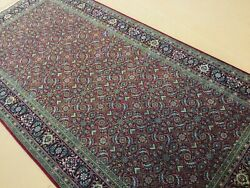 5andrsquo X 10andrsquo Red Navy Blue Fine Geometric Hand Knotted Oriental Rug Wool Foyer