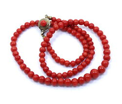 Vtg Graduated Deep Ox Blood Red Coral Bead Strand Italy 800 Silver 18 Necklace