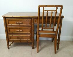 Dixie Aloha Faux Bamboo Desk 20th Century Boho Chic With Chair