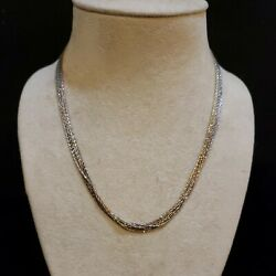 Sterling Silver 7 Strand Diamond Cut Necklace Tricolor Gold 17 Italy P.lux