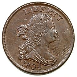 1804 C-6 R-2 Spiked Chin Manley 6.0 Draped Bust Half Cent Coin 1/2c