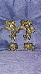 Antique Primitive Bronze Angel Statues Hand Carved Approx 6 And 1/2 In Tall Rare