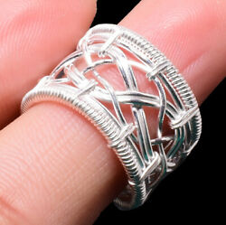 Handmade 925 Solid Sterling Silver-plated Wire Wrapping Ring Jewelry Rr-5