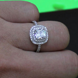 1.90 Ct Cushion Cut Real Diamond Wedding Engagement 14k Solid White Gold Rings