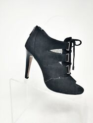 Isola Brinly Peep Toe Ankle Bootie Black Suede Leather Mesh Women's Sz 7 Sexy