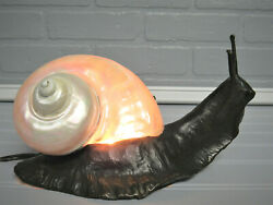 Exquisite Antique Early Bronze Snail Shell Lamp With Shell High Quality Rewired