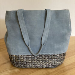 Margot Blue Suede Gray Woven Bucket Purse Tote Bag $34.50