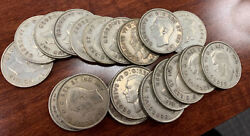 1944 Canadian Half Dollar 50c Silver Coin Roll Of 19 Coins Free Shipping