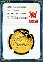 2021 P Australia Proof Gold 100 Lunar Year Of The Ox Ngc Pf70 1 Oz Coin