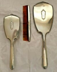 Vintage Sterling Silver Vanity Set Mirror Brush Comb With Engraved Initial