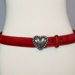 Pat Areias Leather Pony Calf Hair Belt Red With Genuine 925 Silver Heart Buckle